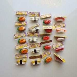 Set of 20 sushi erasers
